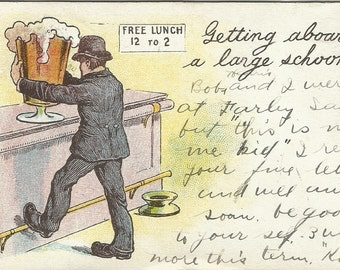 Drinking Card Man at bar with Giant Beer Old Fashioned Tavern Vintage Postcard Comic Undivided Back 100 years old 1901 -1907