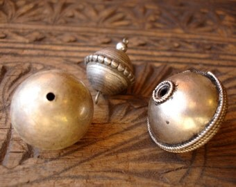 3 x mixed Moroccan tarnished metal beads