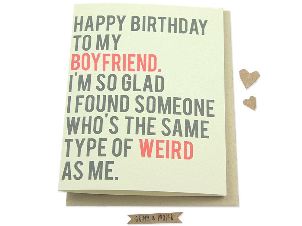 Funny Boyfriend Birthday Card Boyfriend's by GrimmAndProper