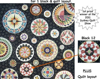 Lots of Dots BOM - Month 12. Patterns and instructions for one blocks as pictured, plus quilt layout and assembly.