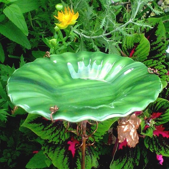 GUY GIFT, Bird Bath, stained glass, Leaf Green, Home Decor, Garden Art, Bird Feeder