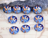 Circle Blue Boys donkey Handmade photo glass cabochon dome Bead 10mm 12mm  For Earring Ring  Brooch Necklace Bracelet Jewelry Fitting