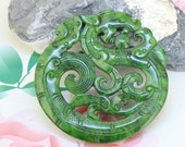 Large Carved Jade Pendant,Charm Green Jade Pendant Old Dragons Jade Amulet Talisman Necklace Pendant Jewerly