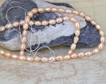 """14 1/2""""  Loose  rice 6mmx 5mm Pink freshwater cultured Pearl beads Full One Strand"""