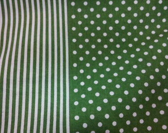 Ivory dot and stripe, green, 1/2 yard, pure cotton fabric