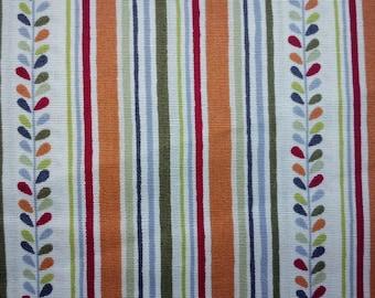 Leaves and stripe, orange purple green gray, 1/2 yard, pure cotton fabric