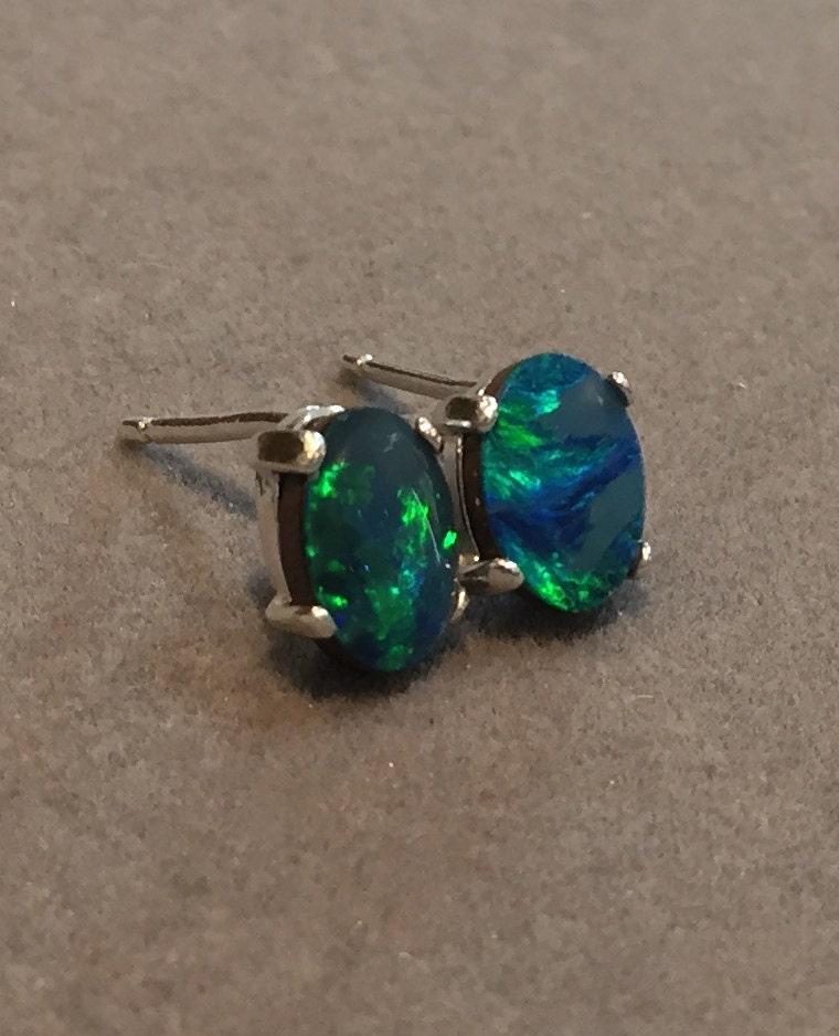 australian opal earring studs genuine black opal doublet