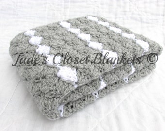 Crochet Baby Blanket, Baby Blanket, Crochet Gray Baby Blanket, Light Gray with White accents, crib size