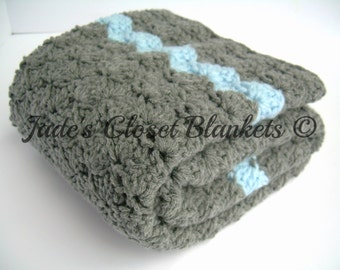 Crochet Baby Blanket, Baby Blanket, Crochet Grey Baby Blanket, Crochet Gray Baby Blanket, Slate Grey and Sky Blue, crib size