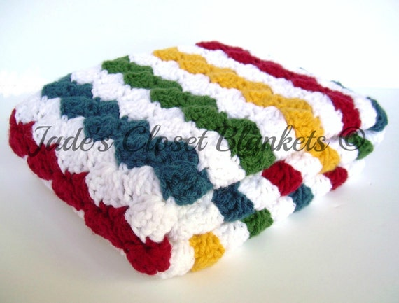 Crochet Baby Blanket, Baby Blanket, Crochet Rainbow Baby Blanket, multi color, primary colors, crib size