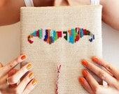 Mustache iPad sleeve - iPad Air 1 2 - Galaxy Tab 10.1 - Hand embroidery - iPad fashion by Galaborn