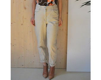 Beige High Waisted Pants Vintage 80's womens mom jeans skinny pants