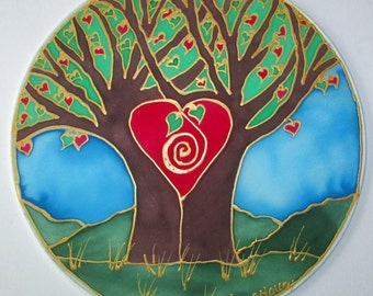 Tree heart mandala art,  wedding gift, spiritual gift, Tree of Love,mandala art, Tree of life art, spiritual art, meditation art, silk art