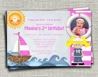 Pink Nautical Sailboat Birthday Invitation, Pink Sailboat Birthday Invite, Pink Nautical Sailboat Personalized Birthday Invite-DIY