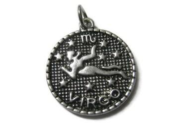 Virgo Charm Pendant Antique Silver - 1pc