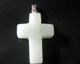 Green Jade Gemstone Cross Pendant  (1098)