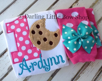 First Birthday Cookie Outfit for girls - Something Sweet - bodysuit and leg warmers - cookie milk theme in turquoise, hot pink