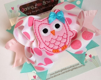 Owl Bow - Pretty Owl - Hot pink, pink and aqua hairbow with adorable, owl center by Darling Little Bow Shop