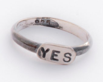 YES sterling silver stackable, oxidized ring