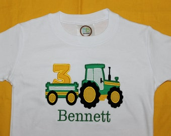 Personalized Birthday Tractor with Birthday Number Onesie of Tshirt