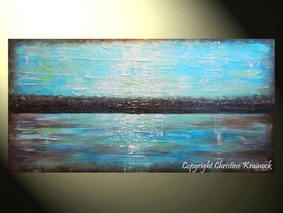 ORIGINAL Art Blue Abstract Painting Brown By ChristineKrainock