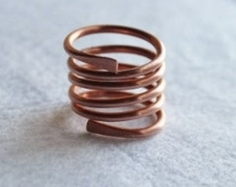 Solid Copper Spiral Ring