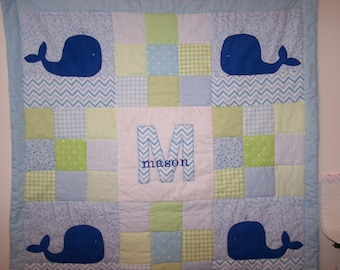 Hand Appliqued Whale with Blue and Green Patchwork Baby Boy Quilt with Personalization/Name