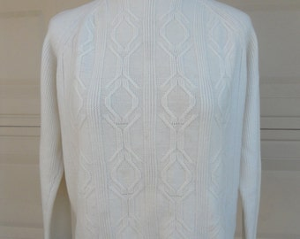 70s Cable Knit Sweater Zip Back by Lady Wilshire