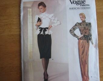 Vogue American Designer Pattern 1189 KASPER Misses' Top and Dress    1980's