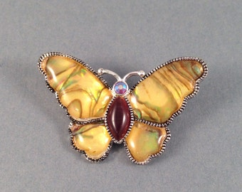 "Vintage Butterfly Brooch Silver, Gold, Brown, Pink with Abalone and Tiger Eye Stones 1.75"" Wide & 1.25"" Long Previously 15 Dollars ON SALE"