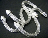 Vintage Lot of 3 Glass Chandelier Light Fixture Arms for Parts Use Repair Restoration