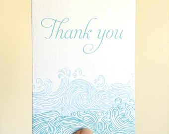 Waves Thank You Cards, Nautical Thank You Notes, Beach Wedding Thank You Cards, Beach Thank You Card, Nautical Thank You Cards, Set of 8