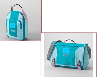 Personalized Messenger Bag Monogrammed Embroidered 2 Piece Back To School Aqua Messanger Bag  Lunch Tote Personalized, Embroidered Crossbody