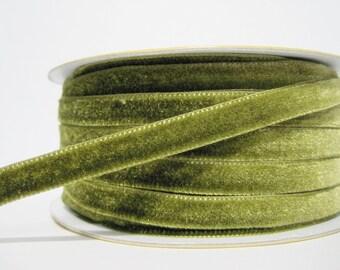 """5 yards 3/8"""" Olive Drab Green Velvet Ribbon, Green Ribbon, Ribbon lot, Wholesale Ribbon, Green Velvet trim, Green velvet, olive green ribbon"""