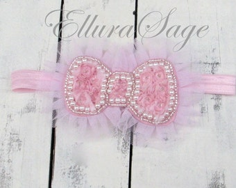 Chiffon Bow Baby Headband, Rosette baby headband, baby headband, flower girl headband, vintage pink headband, rosette headband, shabby