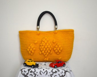 Cyber Monday Sale-Handmade Mustard Yellow  Knit Bag, Celebrity Style,Crochet moms bag,satchel, fashion Tote Handmade Bag Unique Bag