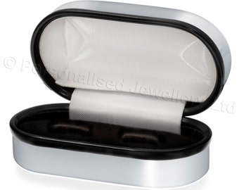 Chrome Cufflink Box, with option for engraving / personalized