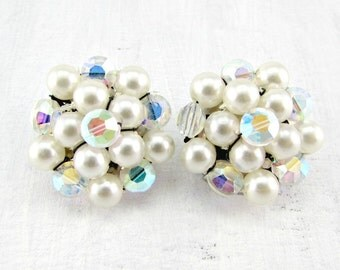 Vintage Pearl Cluster Earrings, AB Crystal Earrings, Bead Cluster Earrings, Silver Clip Earrings, 1950s 1960s Wedding Bridal Costume Jewelry