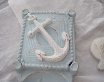 Nautical Vintage Cigar/Cigarette Ash Tray - Trinket/Cigarette Box Circa 1940 Upped & Distressed in Beach Blue