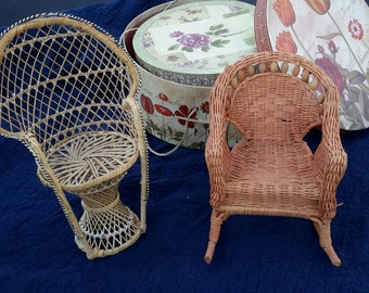 Doll Chair Pair Wicker Beaded & Rattan Arm Chairs Plant Stand Or Dolly Sized Cute Summer Decor Useful Natural
