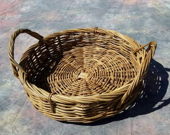 Basket Floor Sized Weaver Style Handled Sturdy Ready To Serve At Your Place by AntiquesandVaria