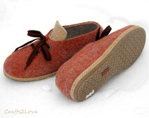 Felted wool shoes in rust beige.Outdoor wet felted shoes with rubber soles.Organic eco fashion women shoes. Woolen shoes. Size US 9