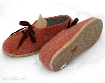 Felted wool shoes in rust beige, Outdoor wet felted shoes with rubber soles, Organic eco fashion women shoes, Woolen shoes, Size US 9 RTS