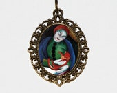 Girl With Cat Necklace, Franz Marc, Cats, Fine Art, Expressionism Jewelry, Cat Lady, Oval Pendant