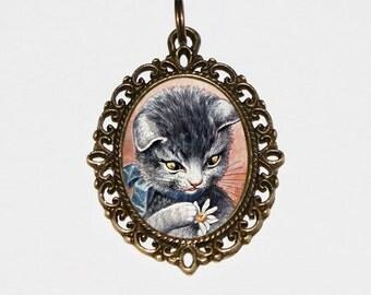 Daisy Cat Necklace, Flower Jewelry, Daisies, Arthur Thiele, Cat Jewelry, Oval Pendant