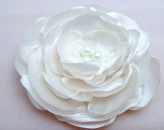 Large Satin and Pearl Bridal Flower in Ivory or White, Hair Clip, Brooch or Applique, Bridal Hair, First Communion, Flower Girl