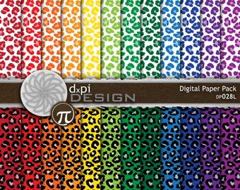 Animal Print Digital Paper - Rainbow Leopard Backgrounds for Digital Scrapbooking in Bold Primary Colors - Instant Download (DP028L)