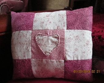 Quilted, applique decorative pillow