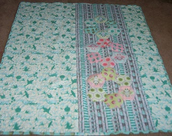 "BABY / CRIB QUILT Bumblecomb 45"" X 55""  Featuring Tula Pink Bumble Collection"