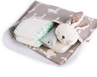 Diaper Clutch Nappy Bag Wallet - White Giraffes on Grey Cotton with Waterproof Lining - Baby Shower Gift